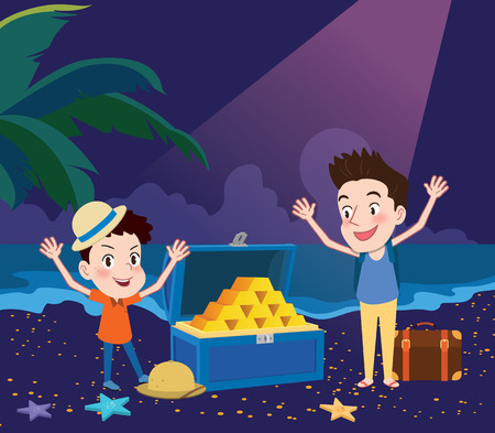 42731217 - summer holidays illustration,flat design exciting treasure hunting concept
