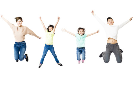 54346924 - happy family jumping together isolated on white