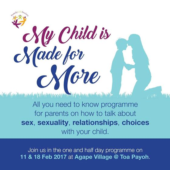 My Child Is Made For More: Helping Parents Talk Sex and Sexuality to their Children @ Agape village | Singapore