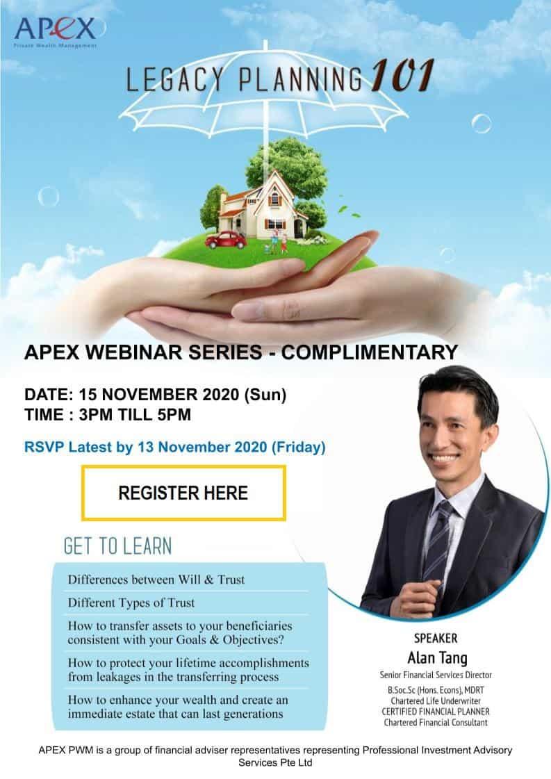 APEX WEBINAR SERIES - Legacy Planning 101 (15/11)