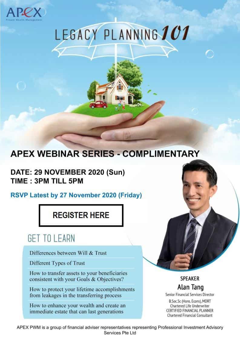 APEX WEBINAR SERIES - Legacy Planning 101 (29/11)